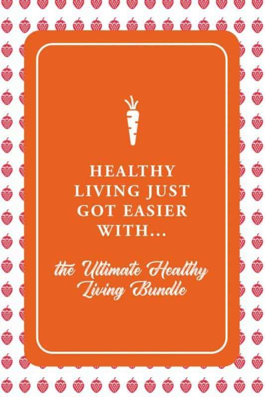 Healthy Living Just Got Easier on an orange background with strawberries around it