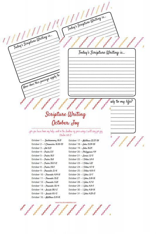 Image of three sheets that come with the Scripture Writing Oct. - Joy