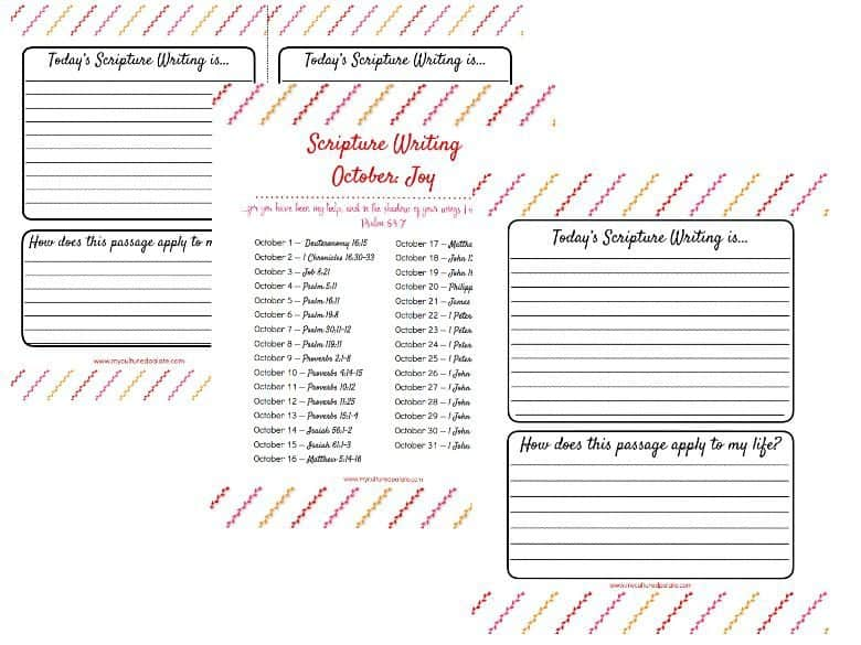 Photo of three sheets that come with the Scripture Writing Oct. - Joy