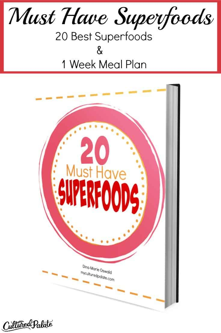 Titled vertical image of the 20 Must Have Superfoods ebook