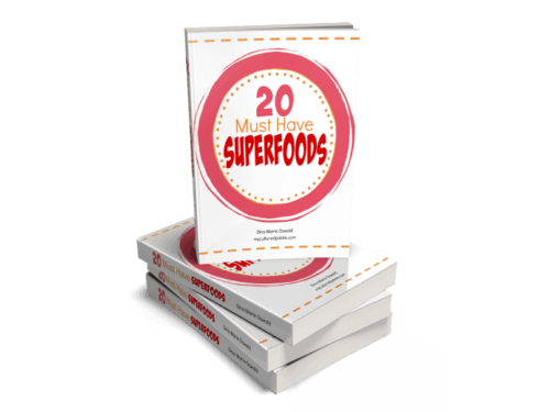 image showing a stack of 20 Must Have Superfoods ebook and the front cover of the top one facing viewer