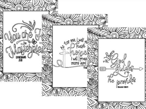 Three designs from the Flowers and Leaves Printable Coloring Sheets set shown on white background