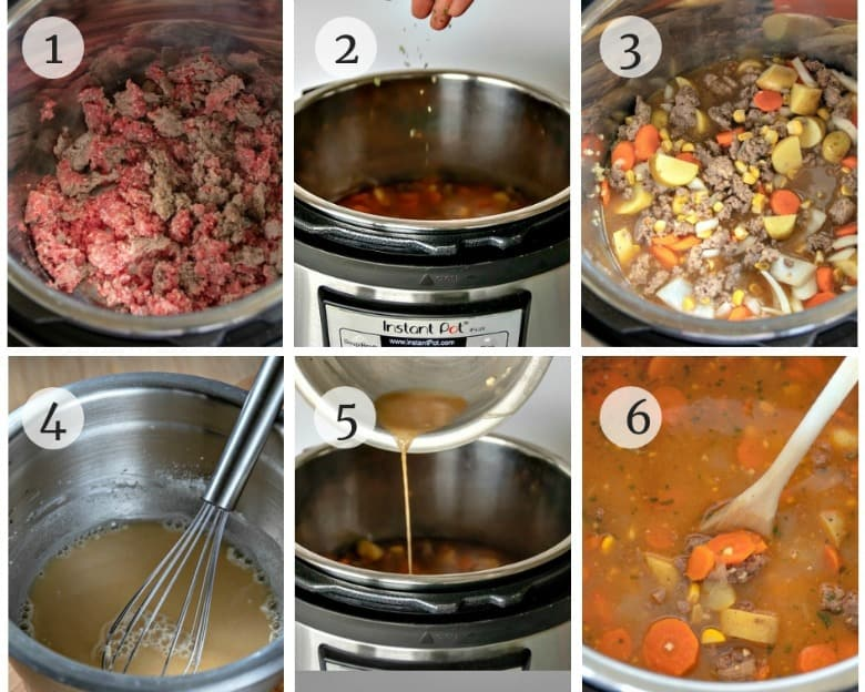 Six steps to make Instant Pot Beef Stew shown