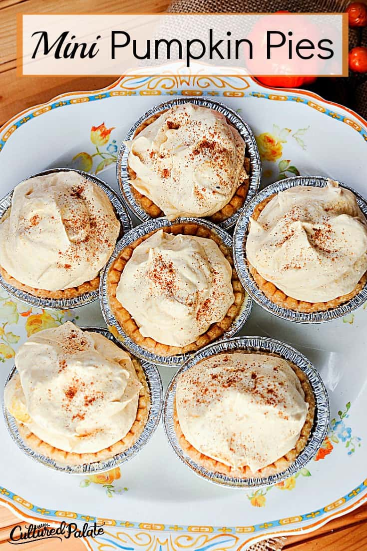 What is better than pumpkin pie? Mini Pumpkin Pies! This pumpkin tart recipe has whipped cream and the delicious taste of pumpkin. Quick and easy these pumpkin bites are delicious! myculturedpalate.com #pumpkin pie #pumpkinbites #minipumpkin pies #pumpkinrecipe #holidaydessert