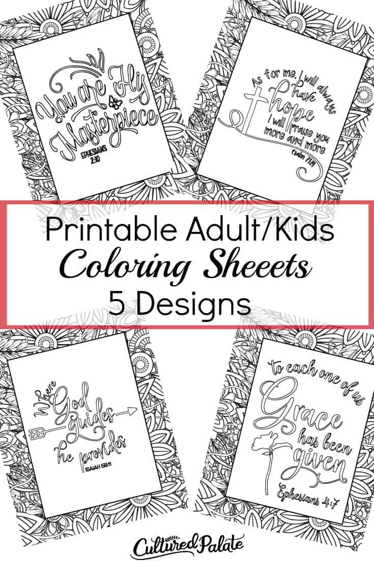 Four designs from printable coloring sheets set with leaves around border shown