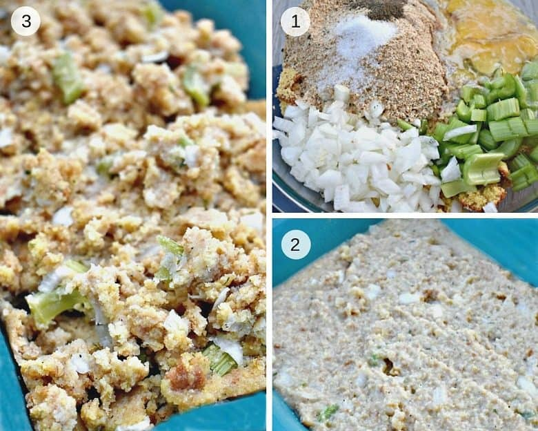 three image collage showing the steps to make cornbread dressing