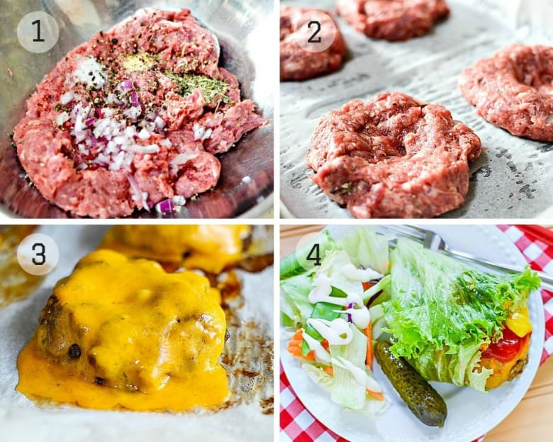 Burgers recipe shown with the 4 steps to make it.