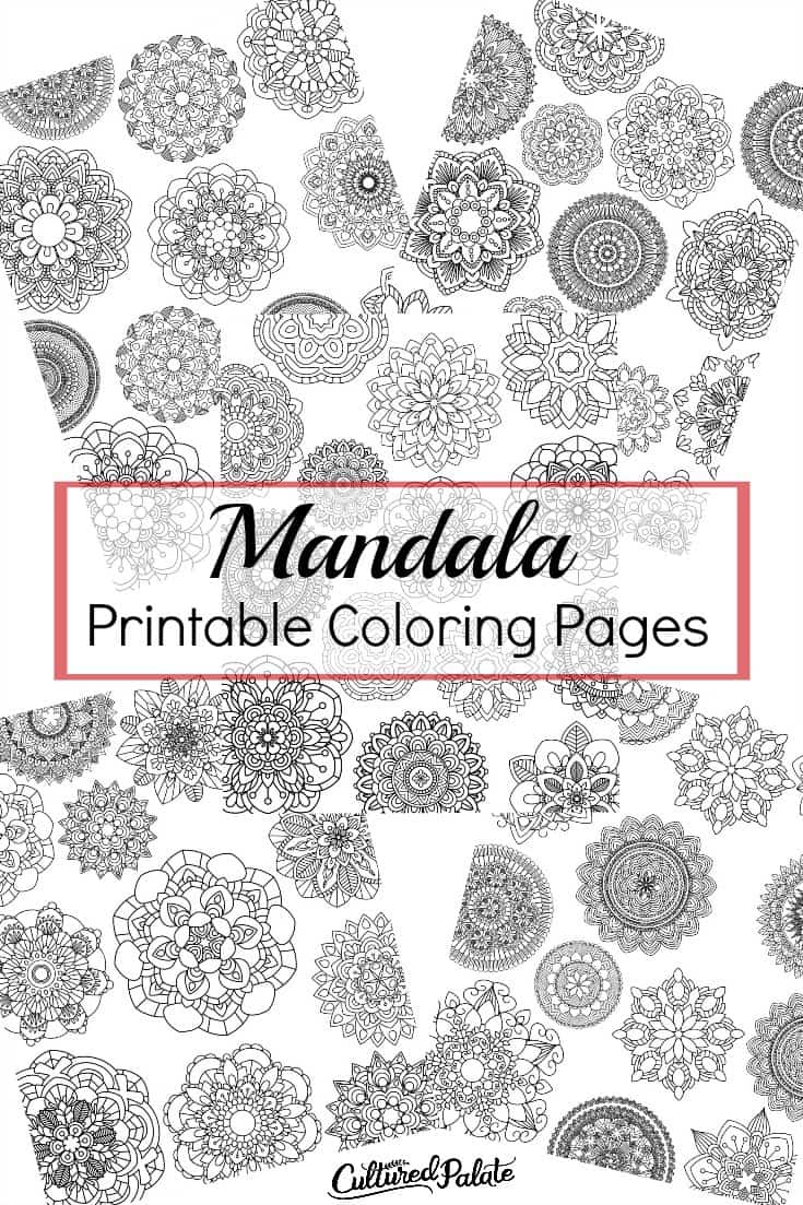 Five images of the mandala coloring pages shown with title