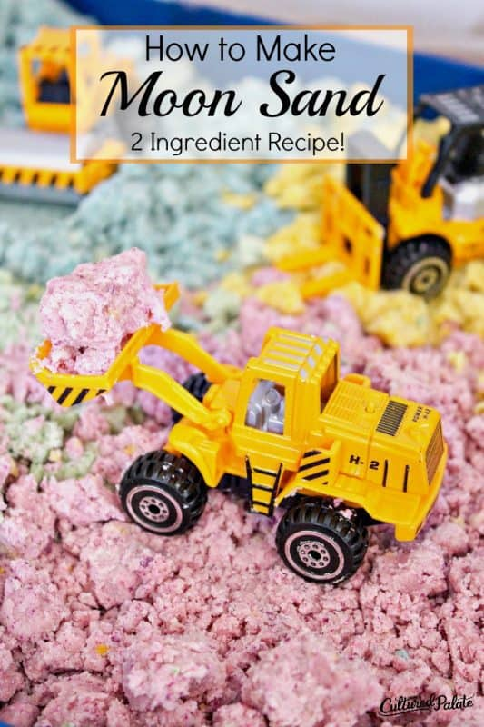 moon and recipe shown in pink, yellow and blue with little yellow tractors playing in the sand.