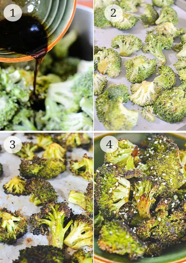 4 steps to making oven roasted broccoli shown