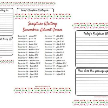 3 pages from the Advent Scripture Writing set - half lines pages, lined page and verses