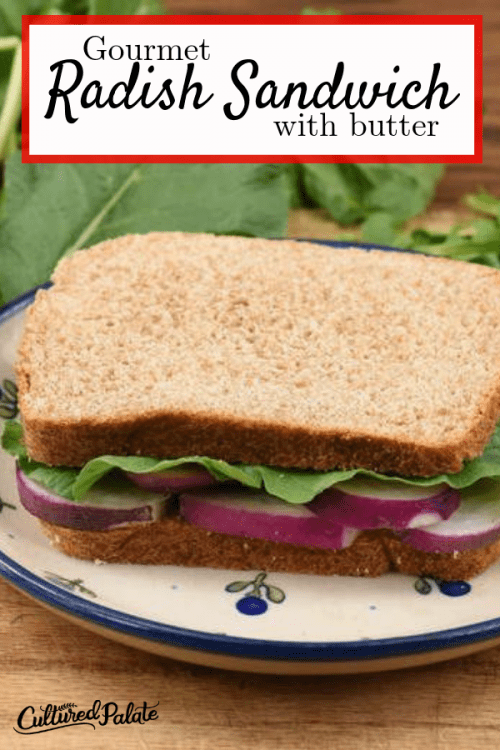 A photo of a radish sandwich with lettuce and butter on whole wheat bread.