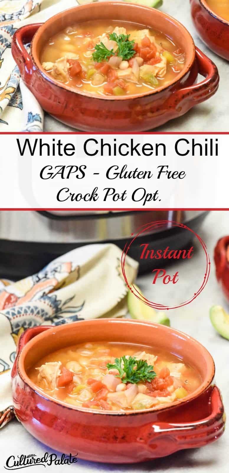 collage of two images of instant pot white chicken chili with text overlay