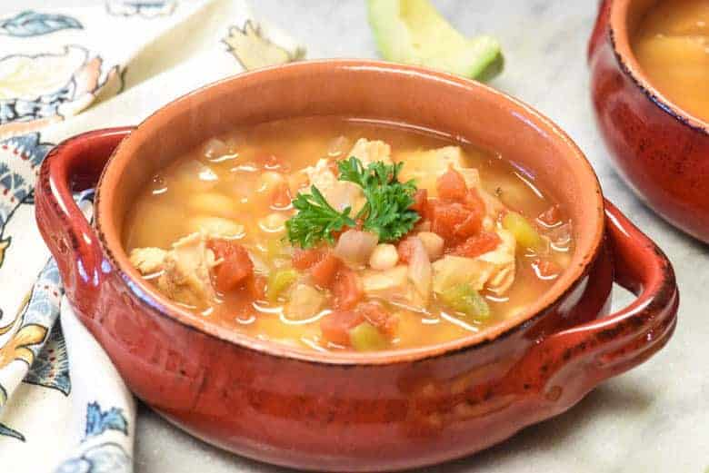 red bowl of instant pot white chicken chili