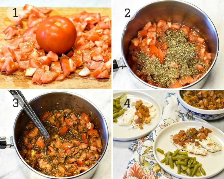 Four steps for making Tomato Basil Grilled Fish Recipe shown.