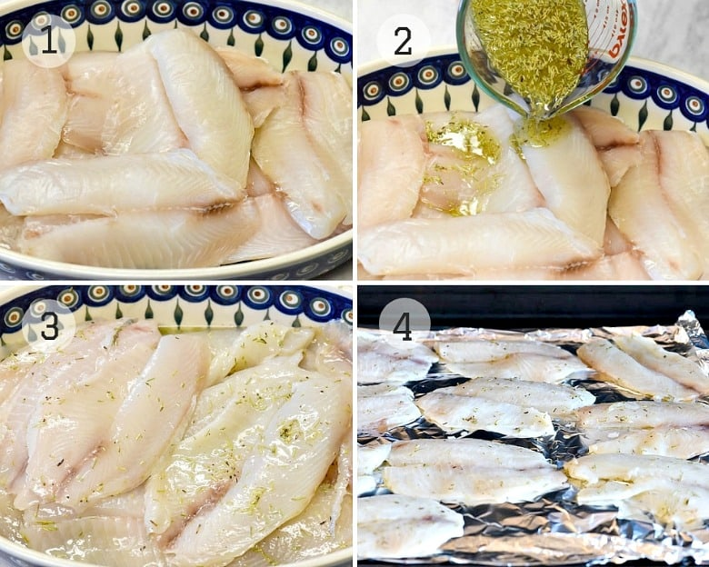 Steps shown for making Tomato Basil Grilled Fish Recipe.