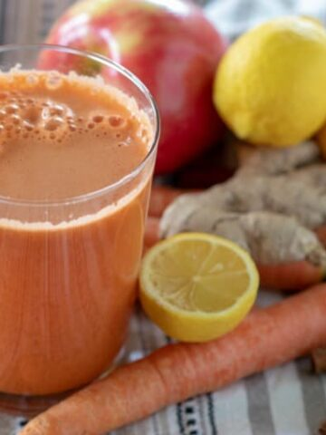 Indian Style Carrot Juice Recipe shown ready to drink in glass.