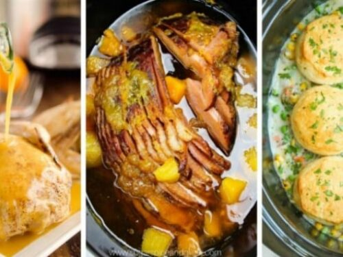 3 images from 30 Crockpot Dinners for 2 shown in collage.