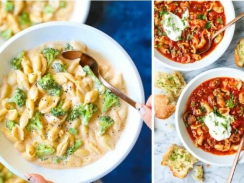 2 images from the post 30 Crockpot Pasta Recipes shown in collage