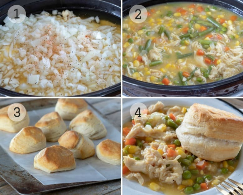 Instructions for Crockpot Chicken Pot Pie shown step by step.