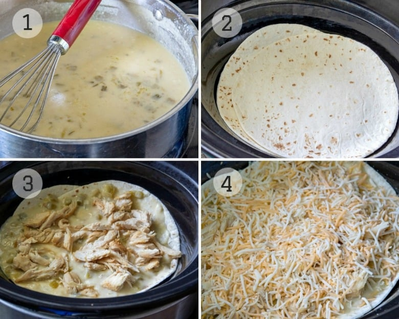 Steps shown to make Crock Pot White Chicken Enchilada Casserole in collage.