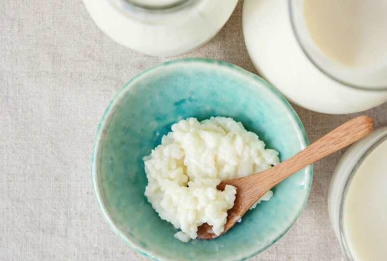 Kefir shown in green bowl.