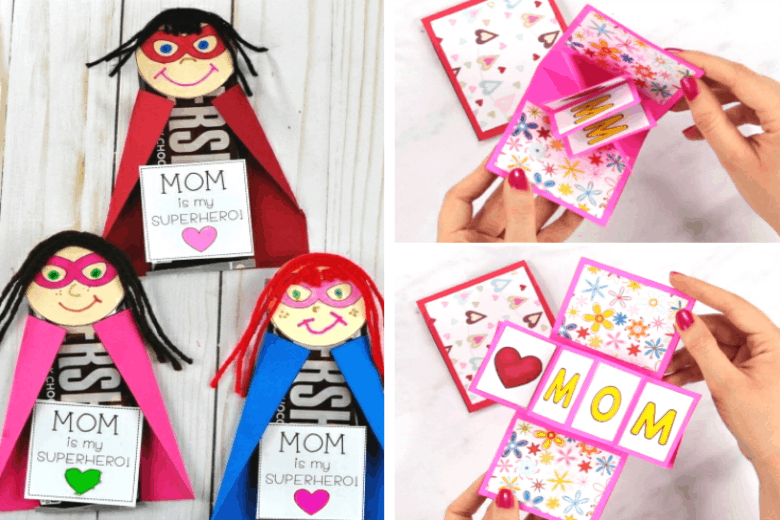 Mothers Day Gift Ideas diy craft projects shown for candy bar and pop out cards.