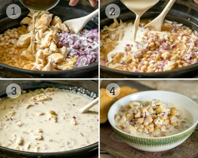 Steps shown to make White Chicken Chili Crockpot Recipe.
