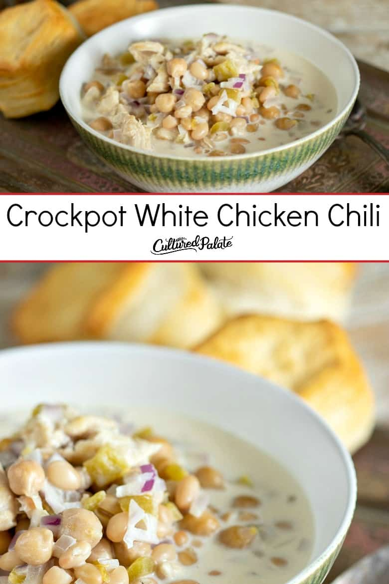 Images of crockpot white chicken chili in a green and white bowl with text overlay.