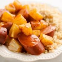Crock Pot BBQ Turkey Kielbasa & Pineapple {Slow Cooker}