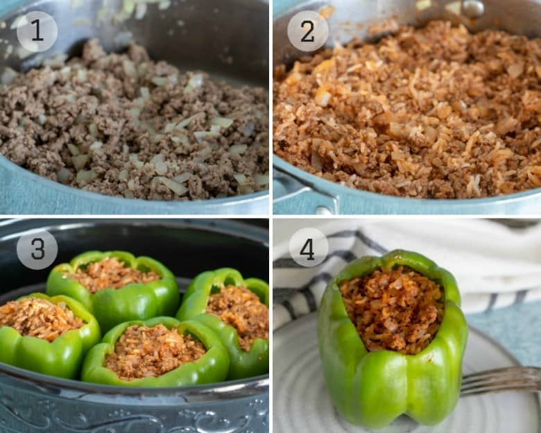 Steps to making Crockpot Stuffed Peppers shown in four images.