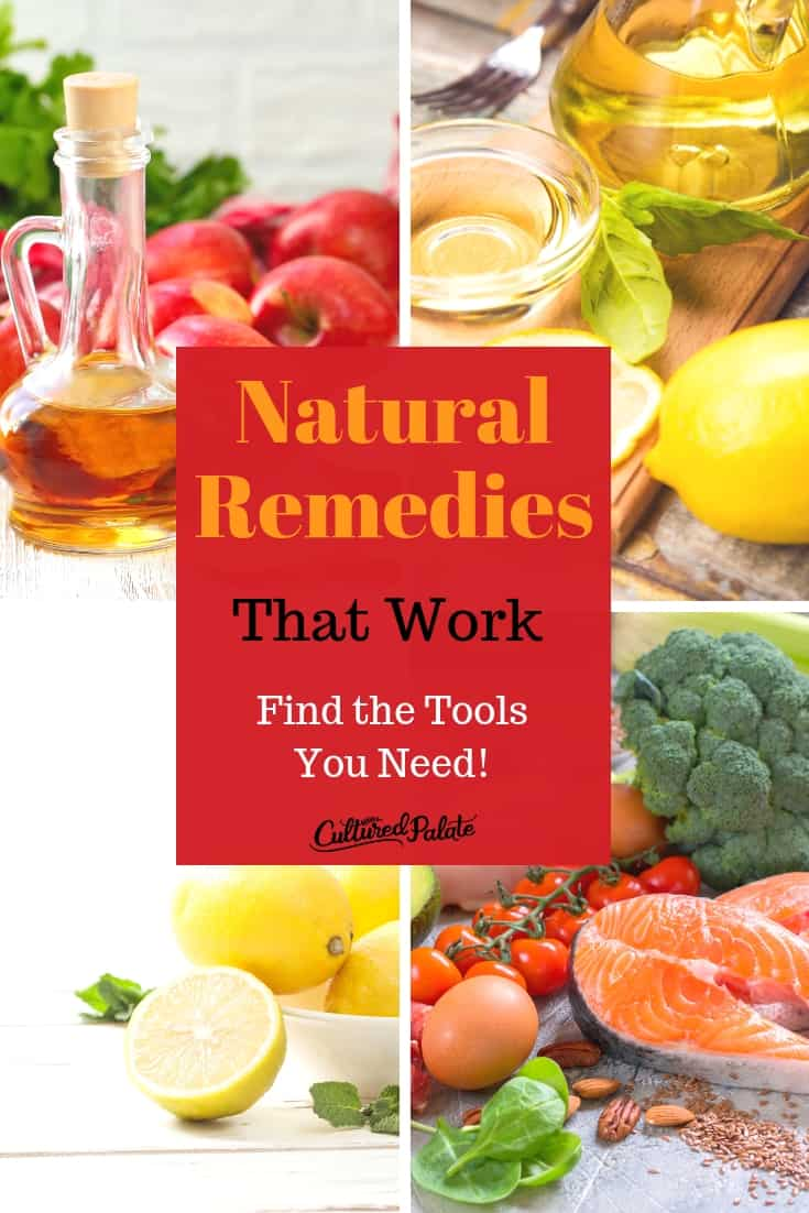 Natural remedies using ACV, lemons, olive oil and healthy diet shown in collage with text overlay.