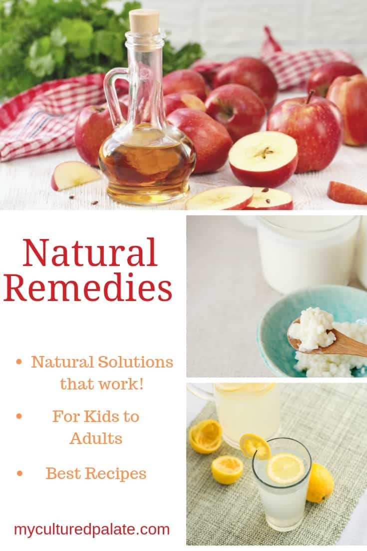 Natural remedies used shown in images of apple cider vinegar, lemon water and kefir with text overlay.