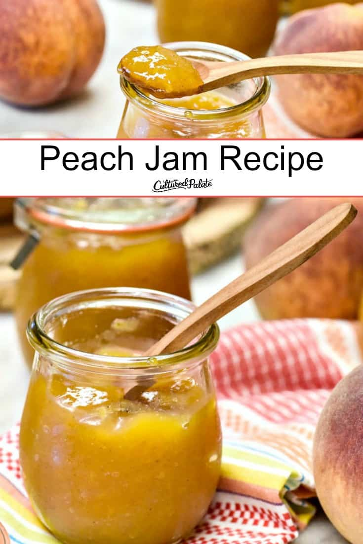 Peach Jam recipe shown make in glass jar with wooden spoon and text overlay.