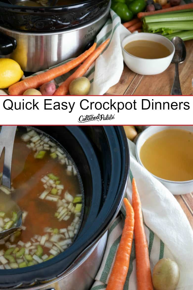 Crockpot shown from front and above with vegetables and broth around it and text overlay.