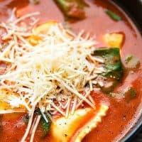 Crockpot Tomato Basil Ravioli Soup | Chelsea's Messy Apron
