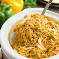 Cheesy Crockpot Chicken Spaghetti Recipe + VIDEO