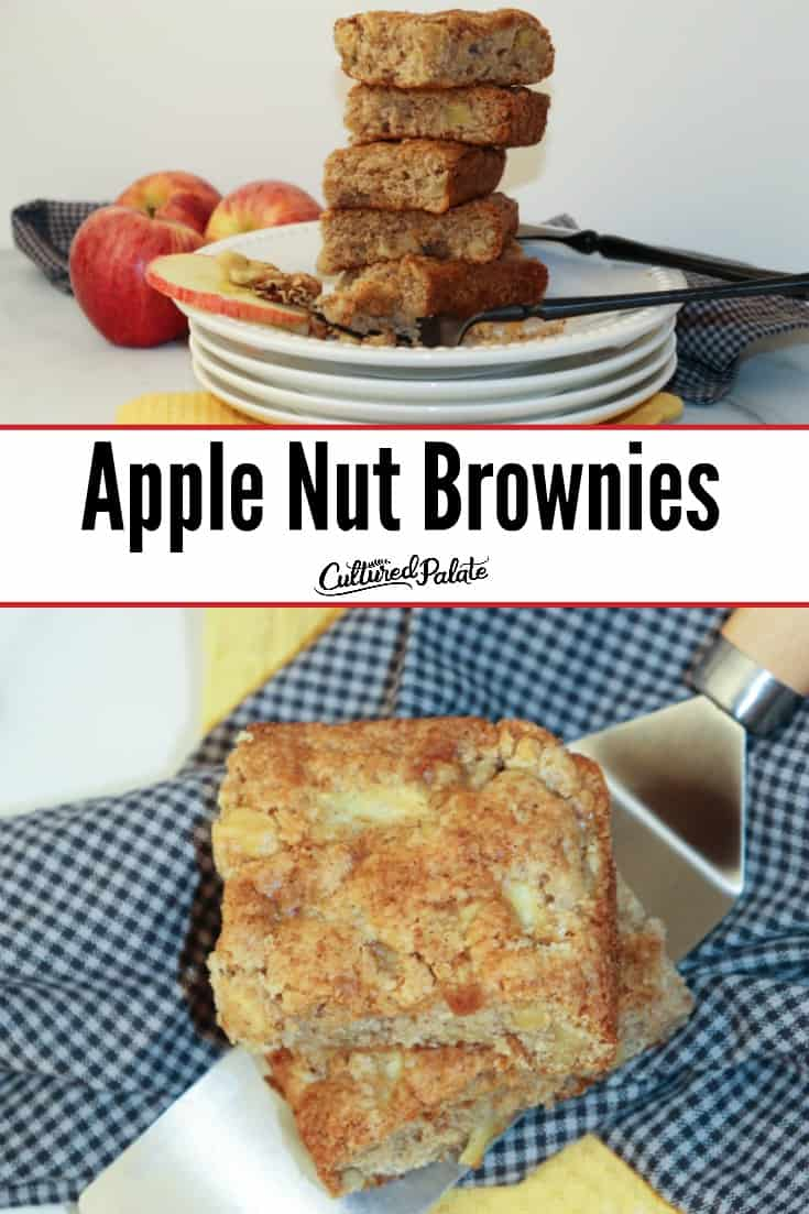 Apple Nut Brownies shown on plates and on server with text overlay.