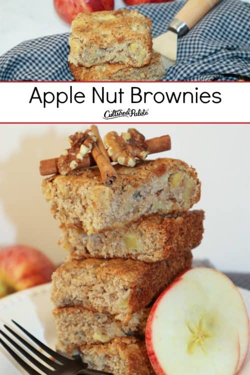 Stacked Apple Nut Brownies shown with text overlay.e
