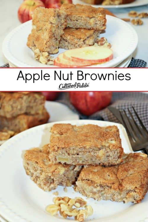 Two images of Apple Nut Brownies shown with text overlay.
