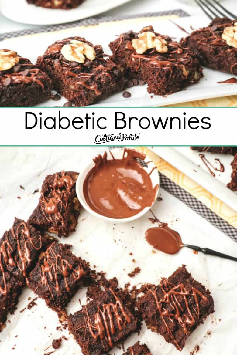 Diabetic Brownies shown in two images with text overlay.
