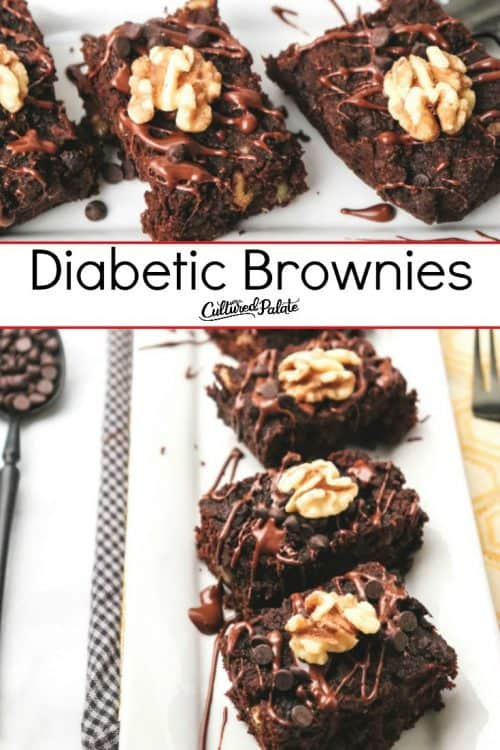 Closeup and overhead view of Diabetic Brownies with text overlay.