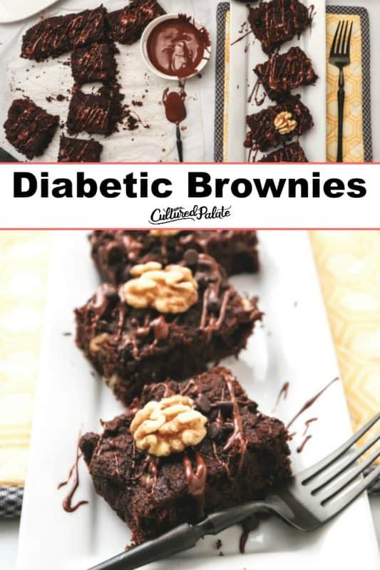 Diabetic Brownies shown on parchment paper and on white plate with fork and text overlay.