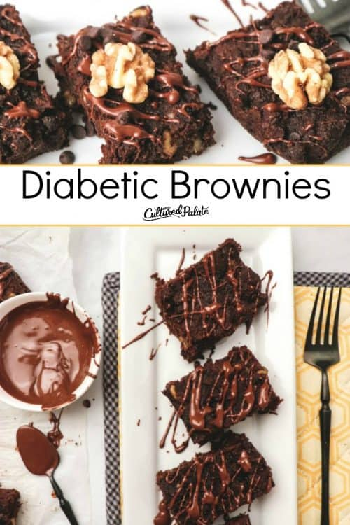 Closeup and overhead images of Diabetic Brownies with text overlay.