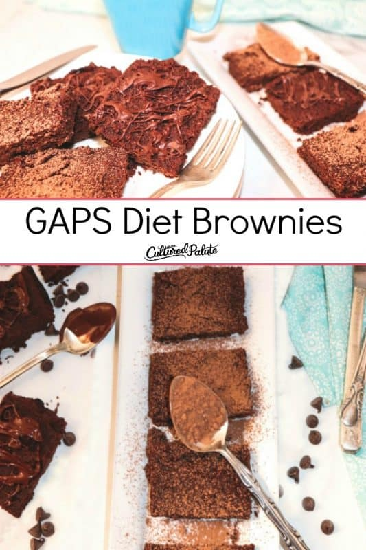 GAPS Brownies shown in two images served on plates and platters with text overlay.