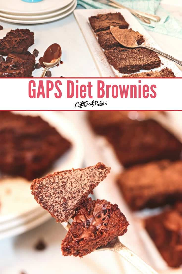 GAPS Brownies on a fork and served on a white table with text overlay.