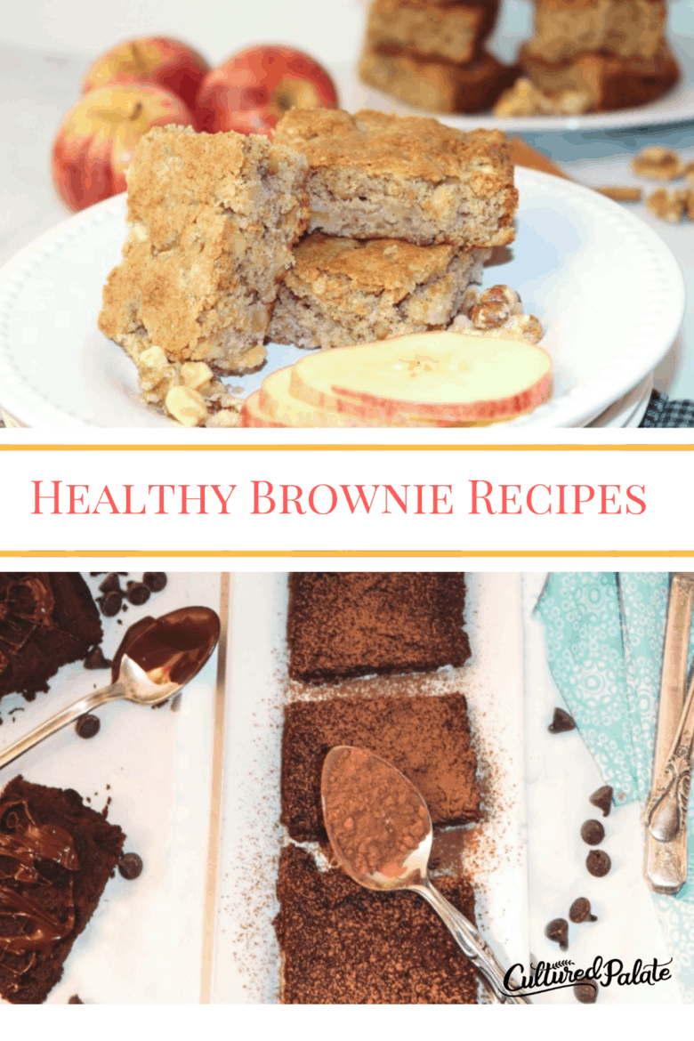 Two image of healthy brownie recipes - apple nut brownies and GAPS brownies shown with text overlay.