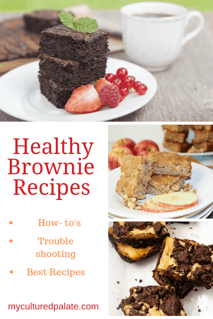 Three images of healthy brownie recipes with text overlay.