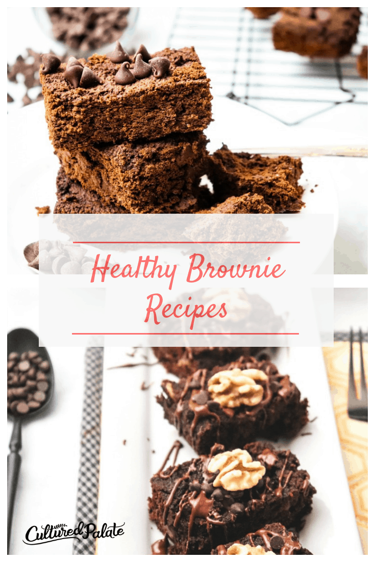 Two images of healthy brownie recipes with text overlay