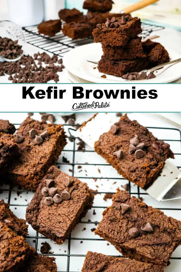 Kefir Brownies served on plate and being served on a spatula with text overlay.